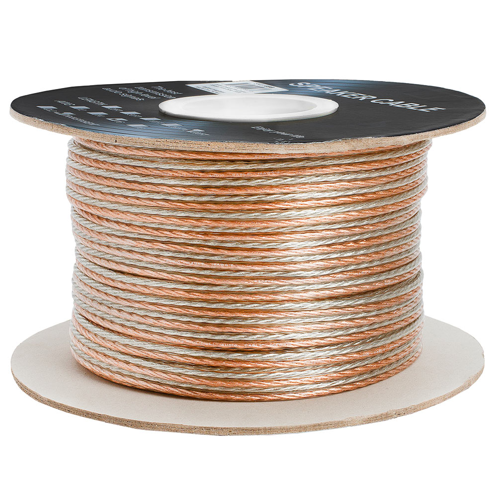 16AWG Clear Jacket Compact Speaker Wire Cable – 300 Feet