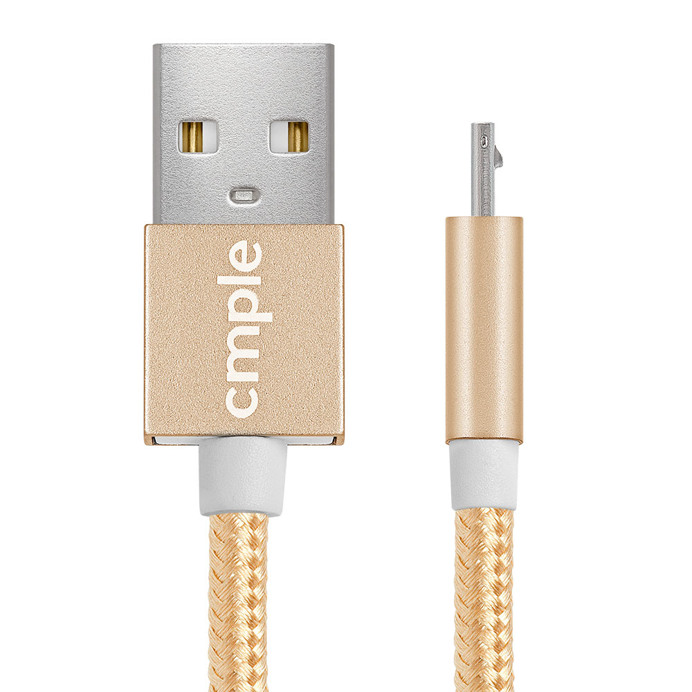 2 in 1 USB 2.0 A Male To Reversible LightningMicro B Male Cable - 3 Feet, Gold