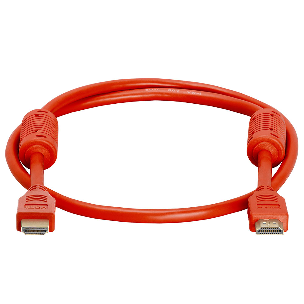 28 AWG High Speed HDMI Cable With Ferrite Cores - 3 Feet Red