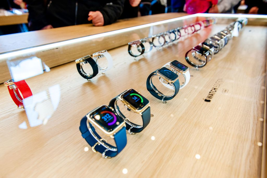 Apple Watch smartwatches displayed at an Apple Store