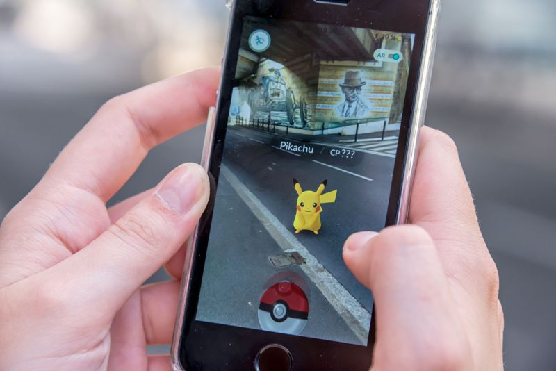 Apple iPhone5s with Pikachu from Pokemon Go application
