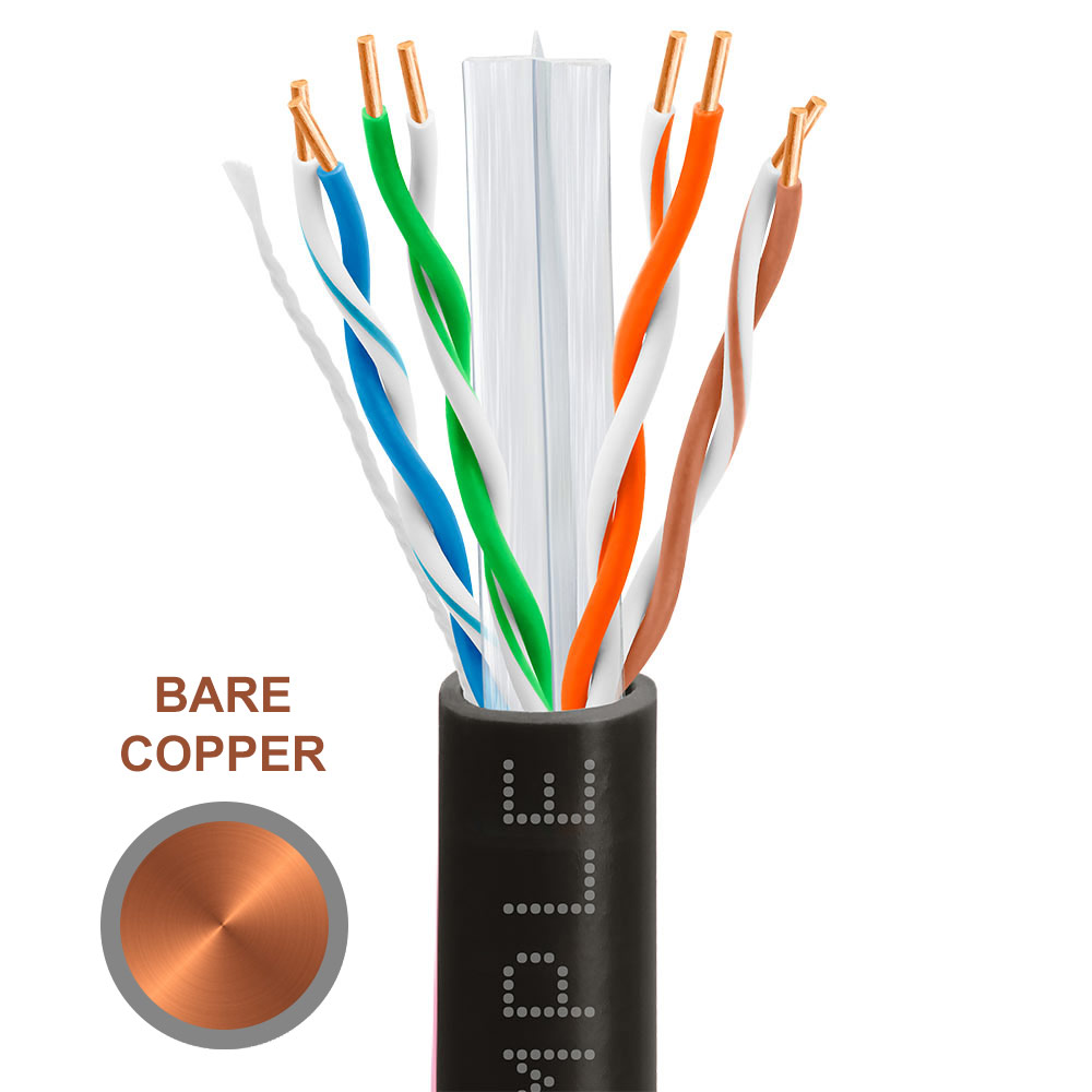 Cat6 Bulk Ethernet Cable 23AWG Bare Copper 550MHz 1000 Feet Black