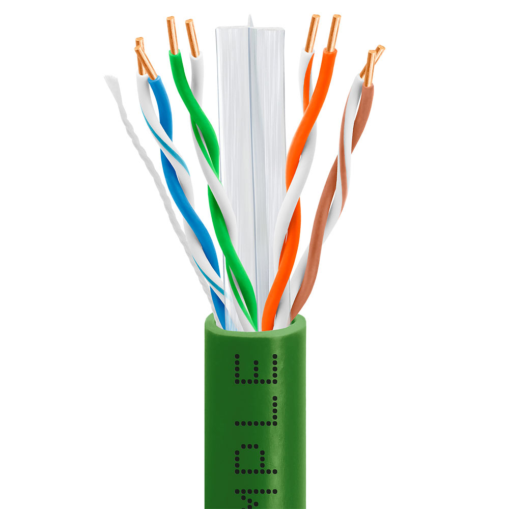 Cat6 Bulk EthernetLAN Cable 23AWG CCA 550MHz 1000 Feet Green