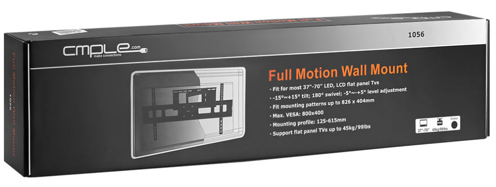 Heavy-Duty Full Motion Wall Mount for 37-70 LCDLED TV'