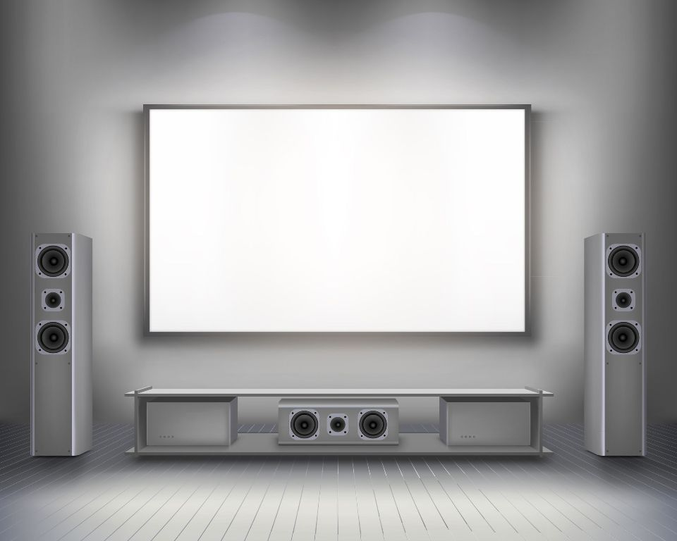 Home cinema with projector screen