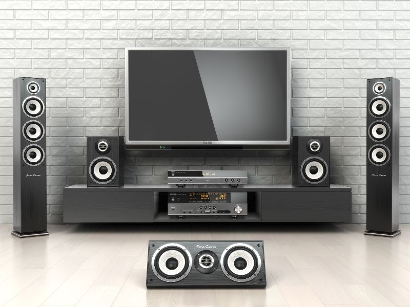 Home cinemar system. TV, loudspeakers, player and receiver