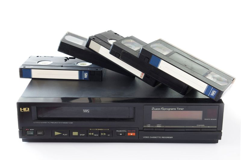Old VHS Video Cassettes on Old Video Recorder