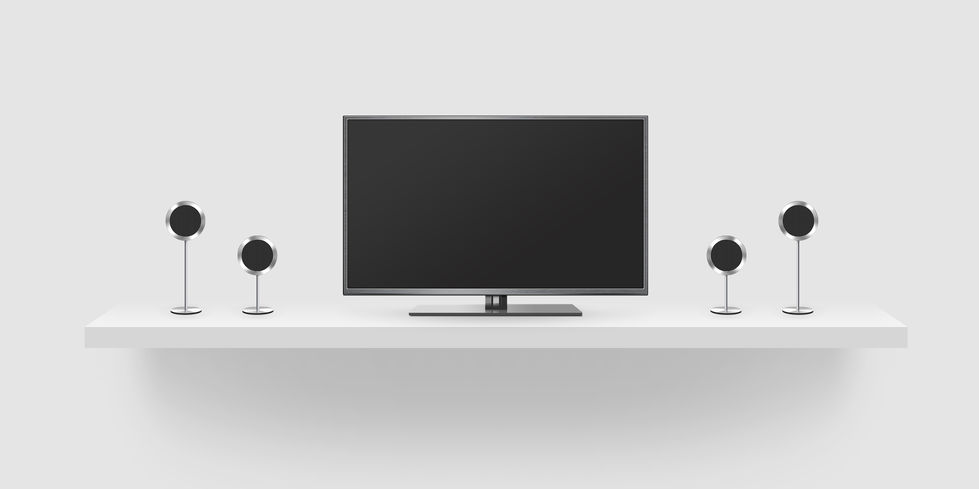 TV flat screen lcd, home theatre realistic illustration, front tv mock up