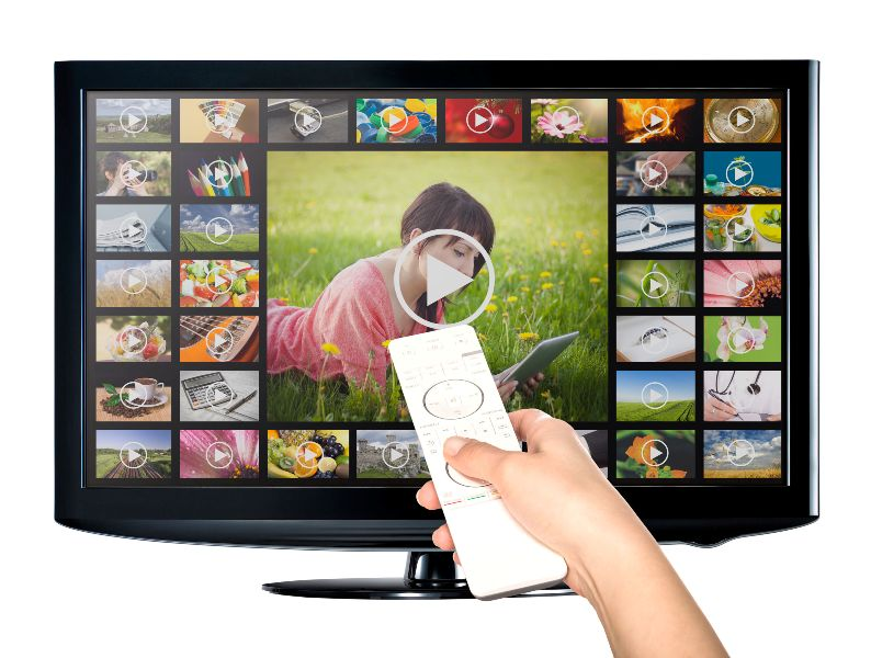 Video on Demand VOD service on TV television concept