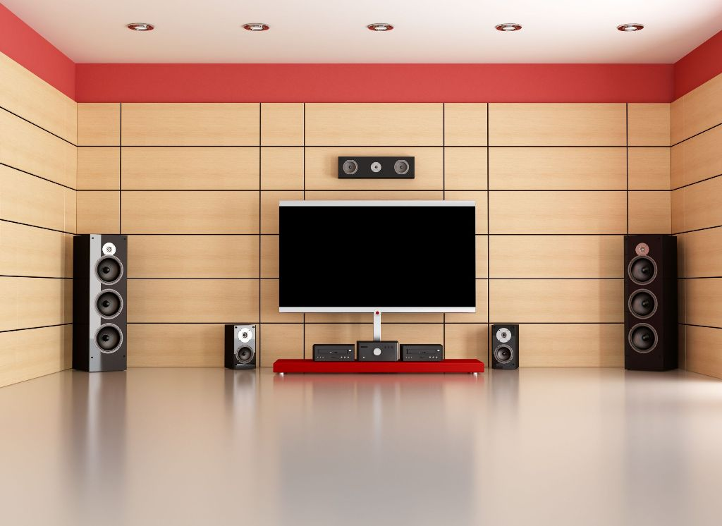 empty living room with home theater system