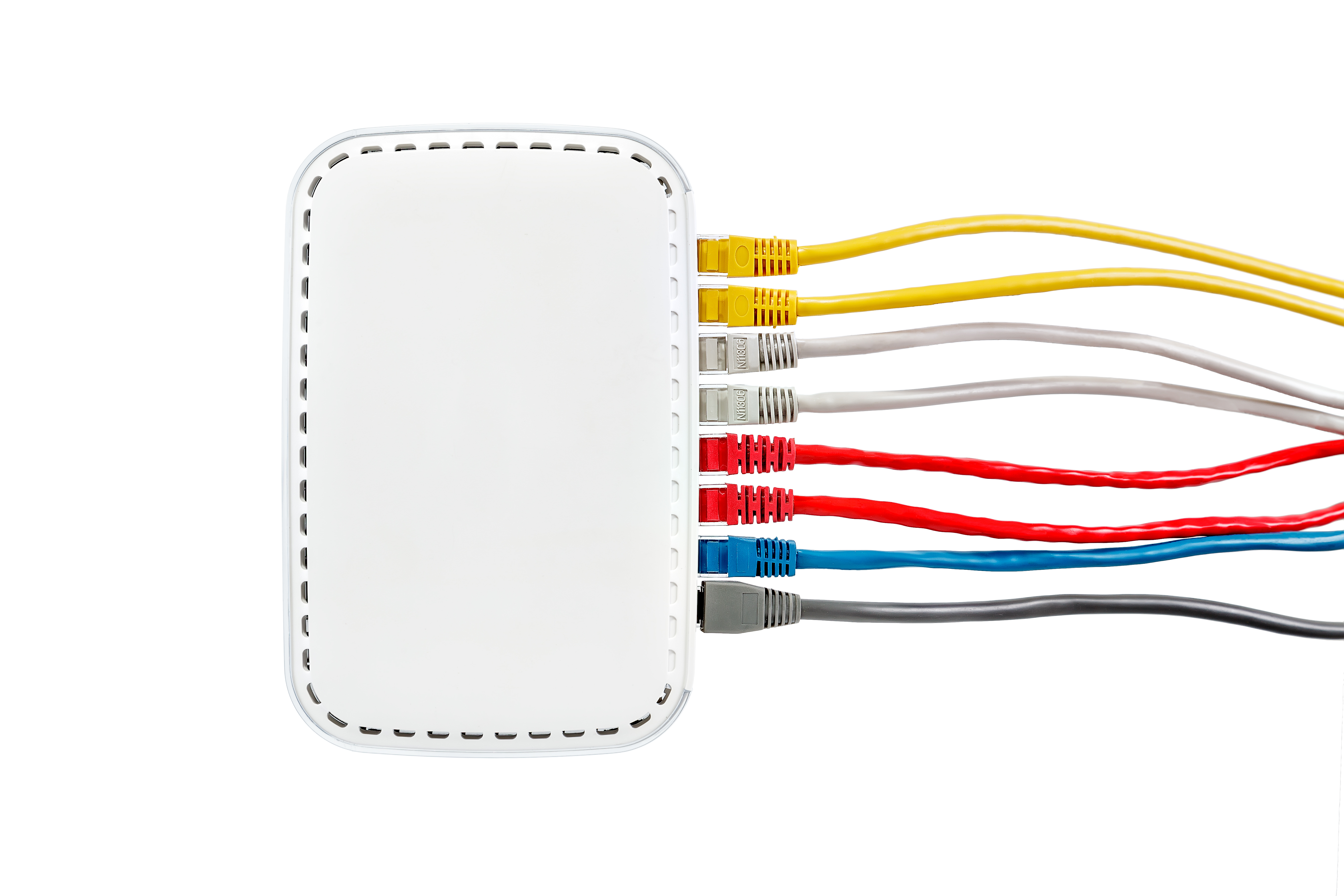 Multicolored network cables connected to router on a white background_Side view_Red, yellow, blue, gray and white Ethernet cables