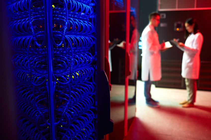 People working in supercomputer center