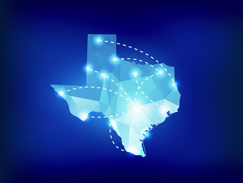 Texas state map polygonal with spotlights places