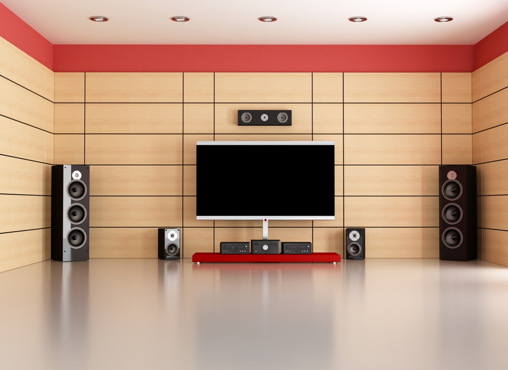 living room with home theater system