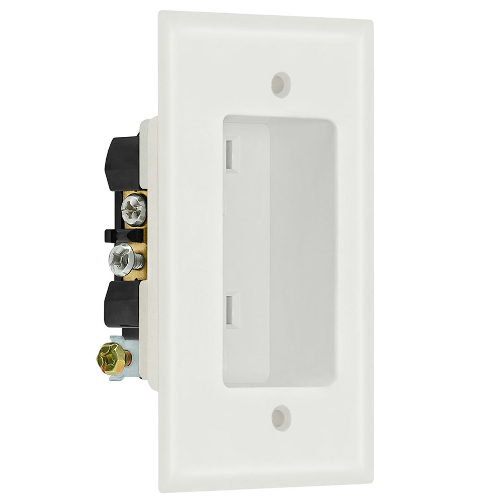 1 Gang Recessed Dual Power Outlet - UL Listed