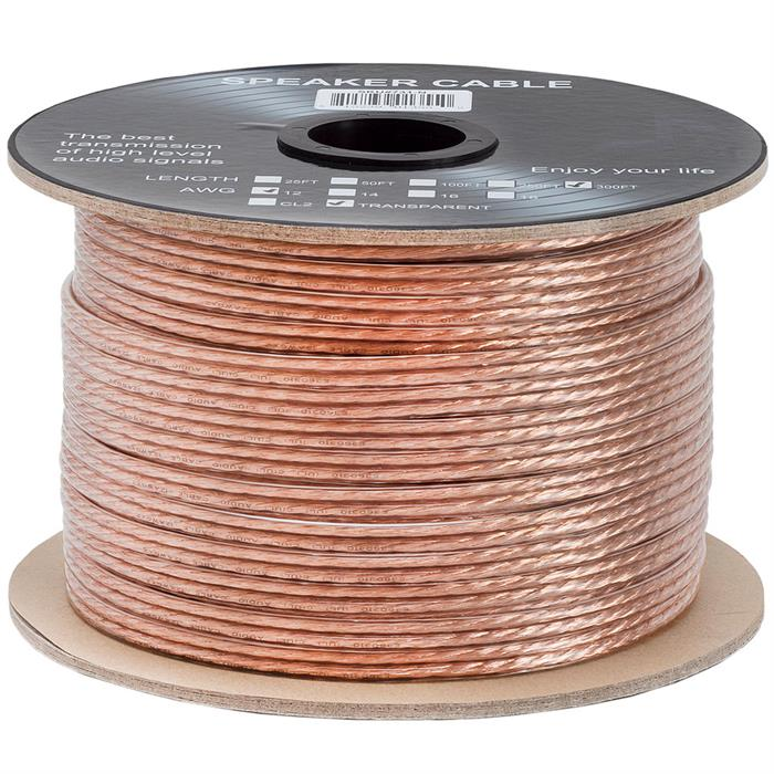 12AWG Clear Jacket Loud Speaker Wire Cable – 300 Feet