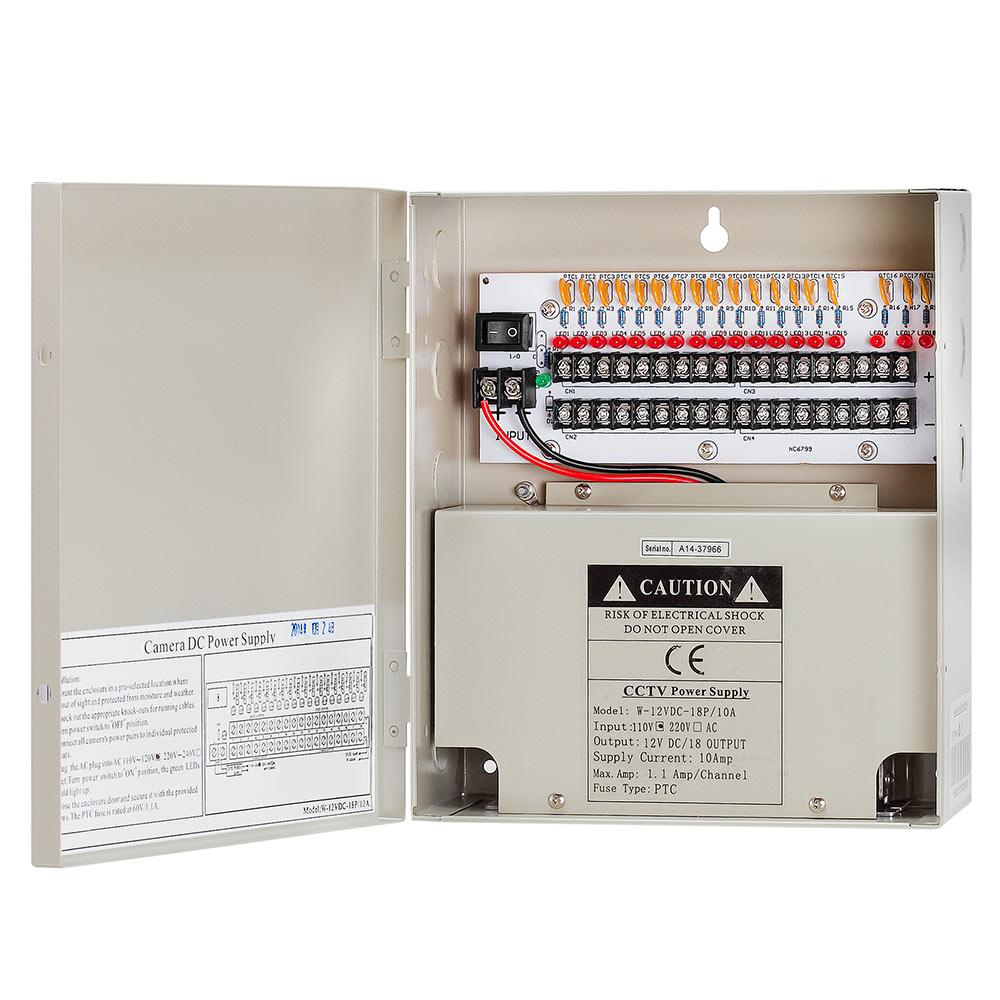 12Volt 18P 10 Amp Power Supply Box for CCTV