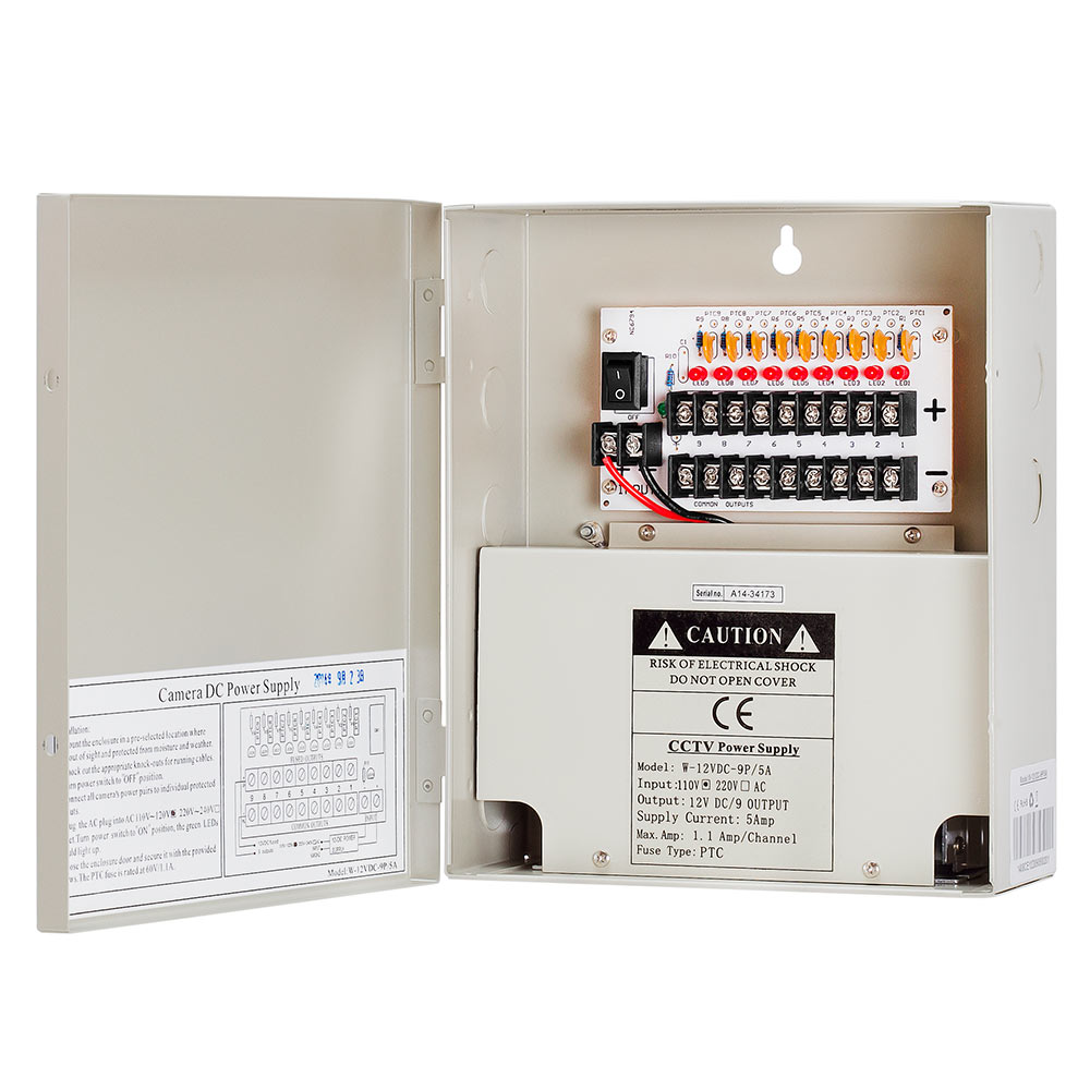 12Volt 9P 5 Amp Power Supply Box for CCTV