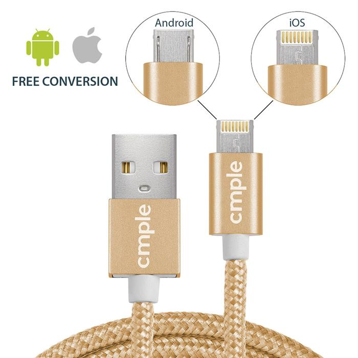 2 in 1 USB 2.0 A Male To Reversible Lightning/Micro B Male Cable - 3 Feet, Gold