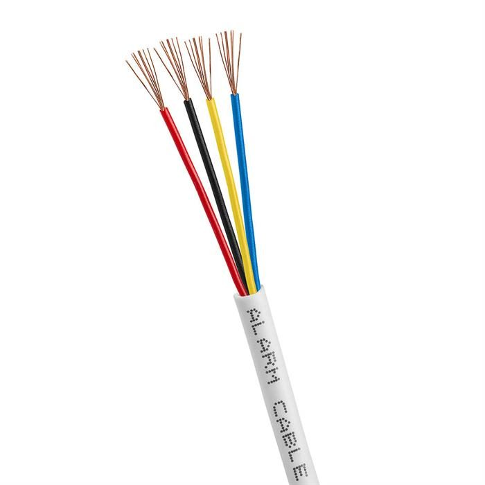 22/4 Gauge AWG Alarm Security Wire Cable Stranded Conductor Unshielded Bulk - 500 Feet White