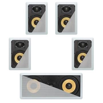 5.1 In-Wall In-Celing Speaker System Kevlar Speakers Power Peak 1100 Watts