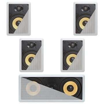 5.1 In-Wall In-Celing Speaker System Kevlar Speakers Power Peak 1500 Watts