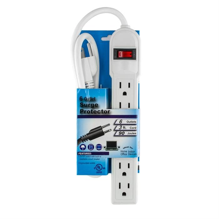 6-Outlet Power Strip with 3ft heavy-duty power cord
