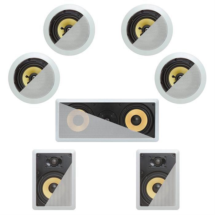 7.1 In-Wall In-Celing Speaker System Kevlar Speakers Power Peak 1500 Watts