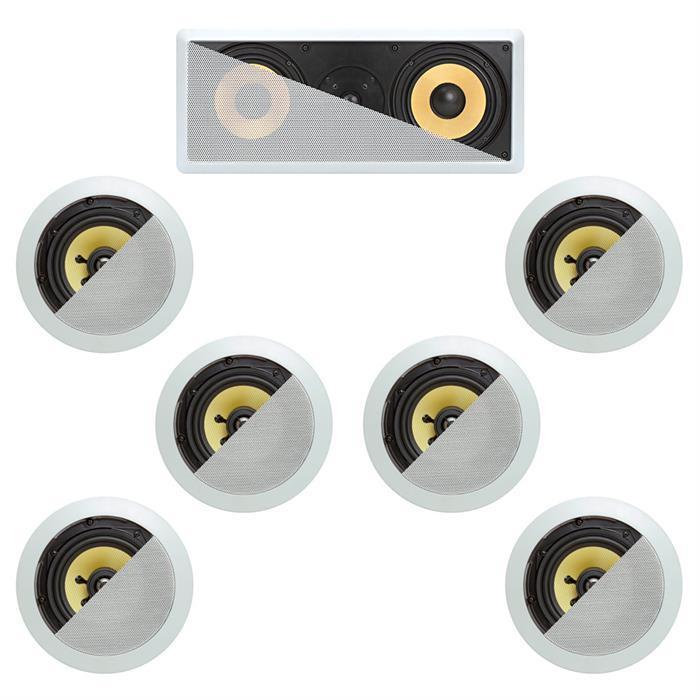 7.1 In-Wall In-Celing Speaker System Kevlar Speakers Power Peak 1660 Watts