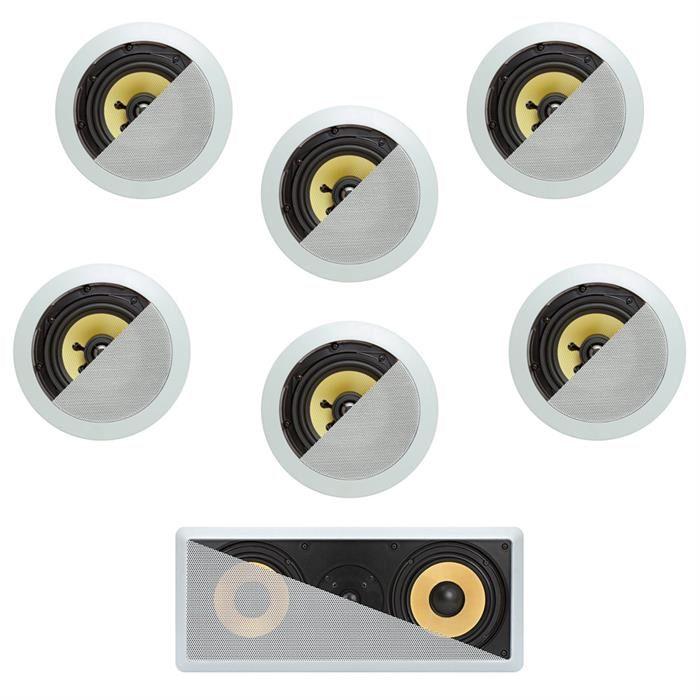 7.1 In-Wall In-Celing Speaker System Kevlar Speakers Power Peak 1740 Watts