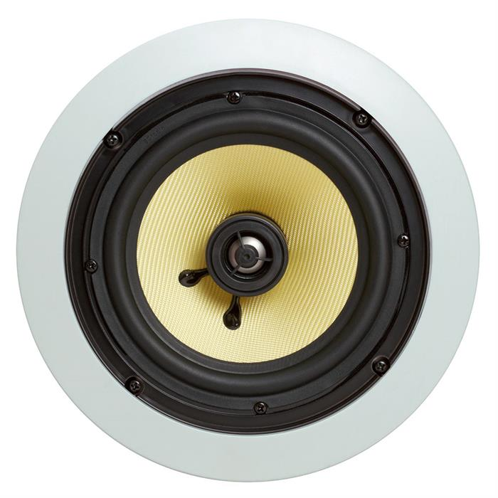 "in wall cmple round speaker 6.5"" kevlar front view"