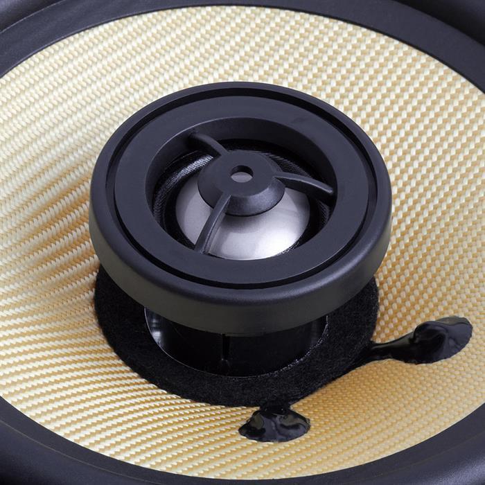 """6.5"""" round speaker surround in wall round tweeter"""