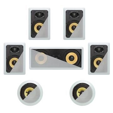 7.1 In-Wall In-Celing Speaker System Kevlar Speakers Power Peak 1780 Watts