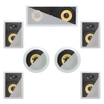 7.1 In-Wall In-Celing Speaker System Kevlar Speakers Power Peak 1900 Watts