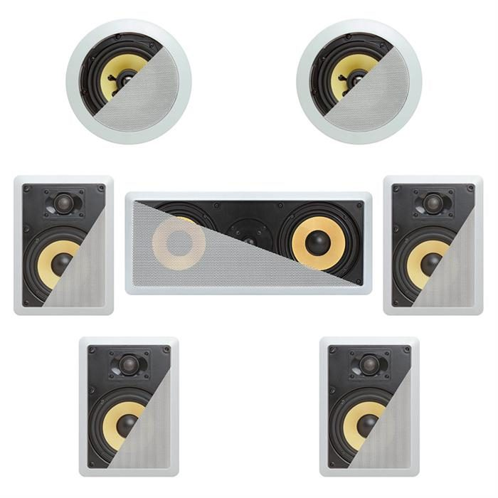 7.1 In-Wall In-Celing Speaker System Kevlar Speakers Power Peak 1980 Watts