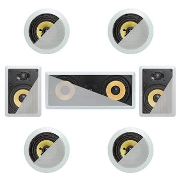 7.1 In-Wall In-Celing Speaker System Kevlar Speakers Power Peak 1860 Watts
