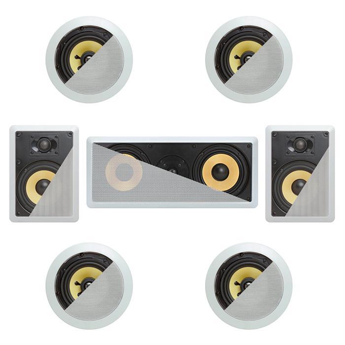 7.1 In-Wall In-Celing Speaker System Kevlar Speakers Power Peak 1860 Watts