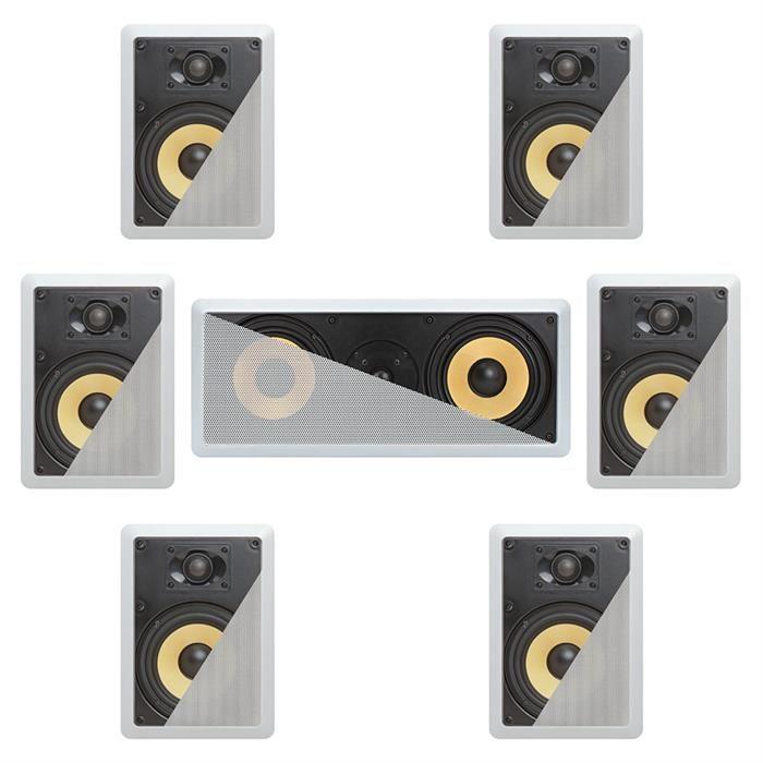 7.1 In-Wall In-Celing Speaker System Kevlar Speakers Power Peak 2100 Watts