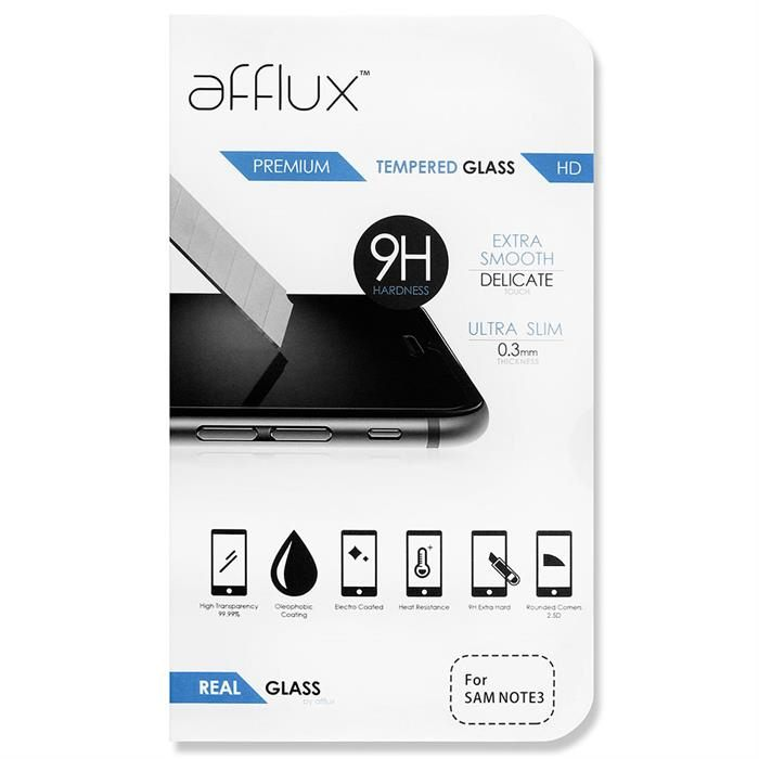 Afflux Premium Real Tempered Glass Screen Protector For Galaxy Note 3
