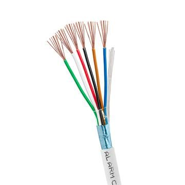Alarm/Security 22/6 Shielded Stranded CMR FTP CL2R 100% Bare Copper Cable - 1000 Ft White