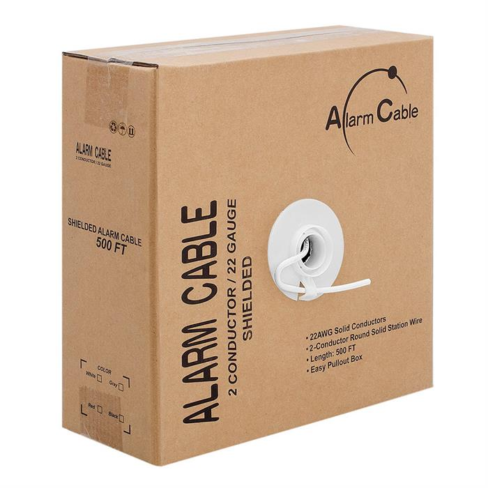 Alarm/Security Shielded 22/2 Solid Cable - Pull Box 500 Feet White