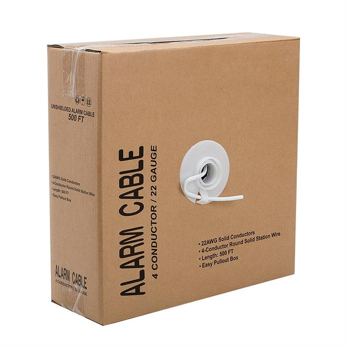 Alarm/Security Unshielded 22/4 Solid Cable - Pull Box 500 Feet White