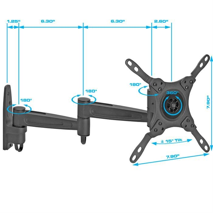 Dimensions - Full Motion Wall Mount for 13-42 Inch TVs