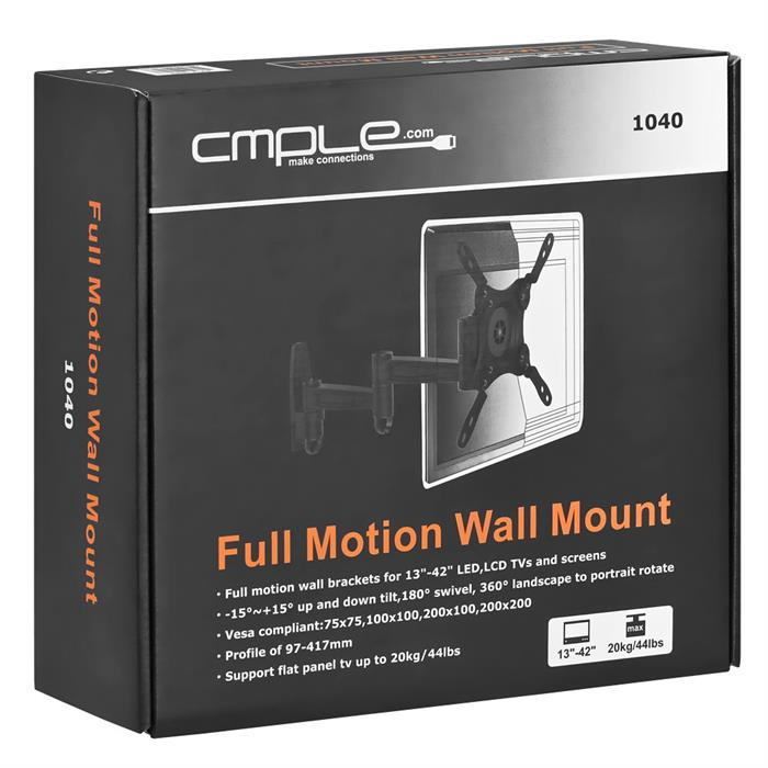 Package - Full Motion Wall Mount for 13-42 Inch TVs
