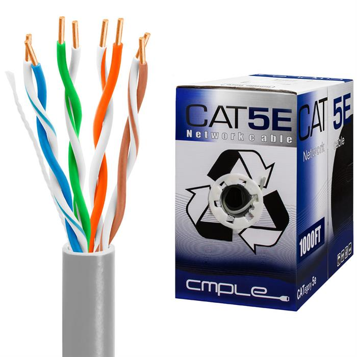 UTP CMR Cat5e Riser Gray Cable 1000ft Box