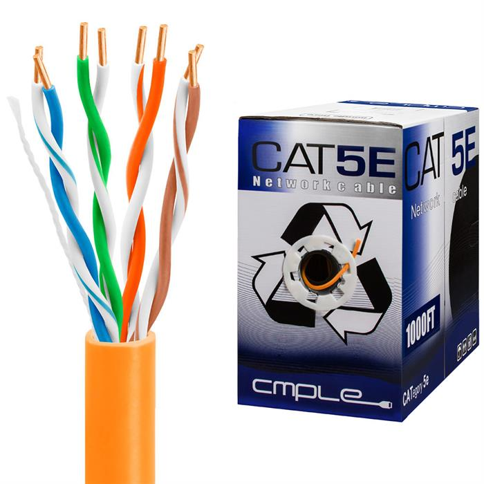 Cat5e Bulk Ethernet Cable 24AWG CCA 350MHz 1000 Feet Orange