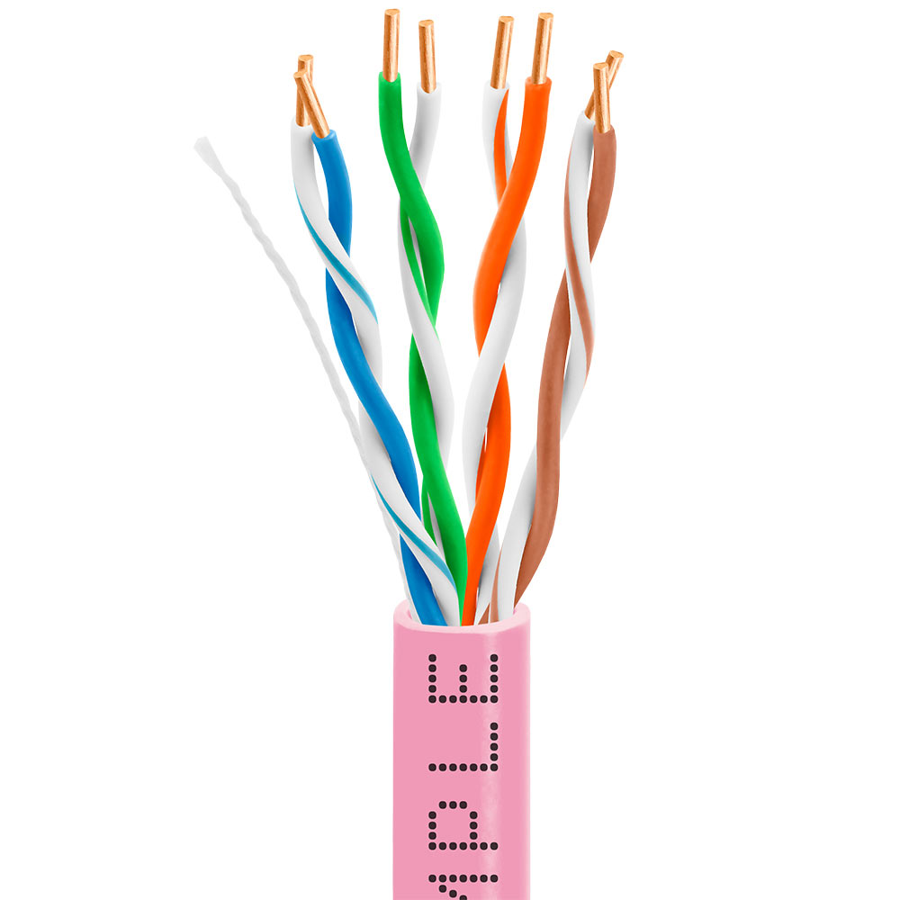 Cat5e Bulk Ethernet Cable 24awg Cca 350mhz 1000feet Pink How To Make 1000 Feet Premium Utp Network Wire
