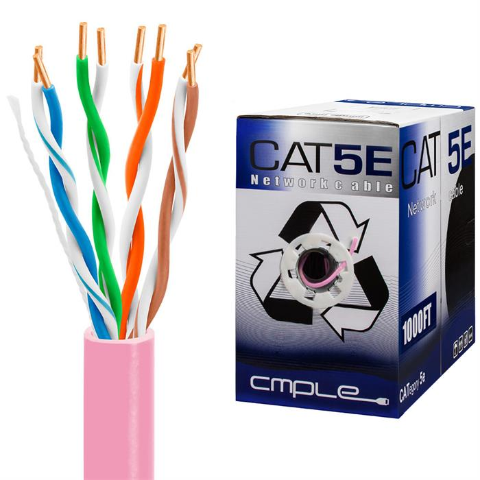 UTP CMR Cat5e Riser Pink Cable 1000ft Box