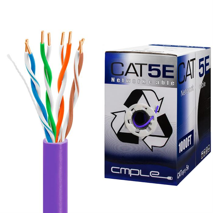 UTP CMR Cat5e Riser Purple Cable 1000ft Box
