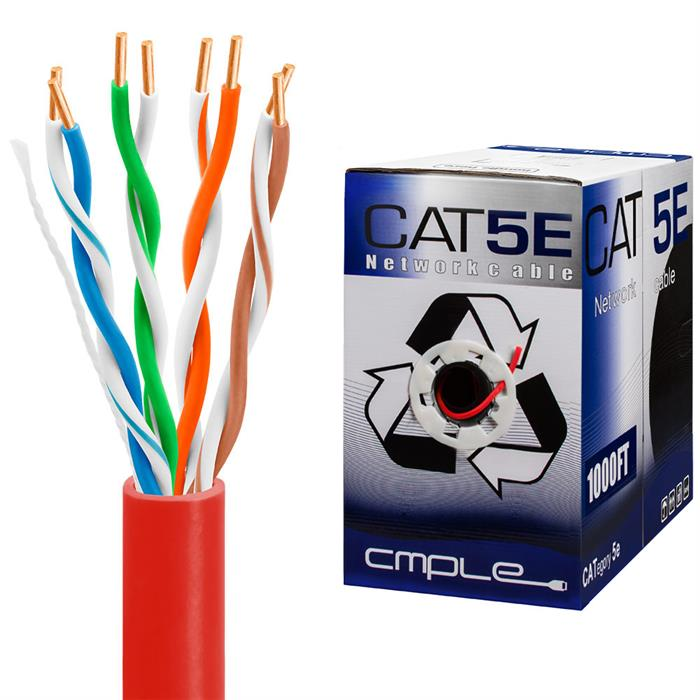 UTP CMR Cat5e Riser Red Cable 1000ft Box